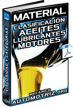Clasificación de Aceites Lubricantes para Motores según su Origen, SAE y API